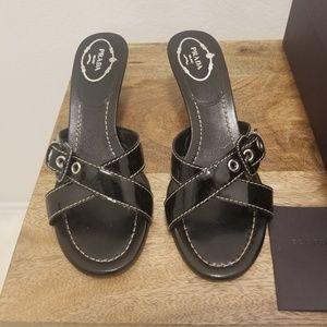 Prada - Criss Cross Strap Wedge Sandals Size: 7
